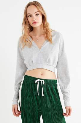 Out From Under Deep V-Neck Cropped Sweatshirt