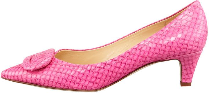 Kate Spade Simon Snake-Print Kitten-Heel Pump, Pink