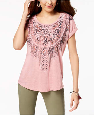 Style&Co. Style & Co Printed Scoop-Neck T-Shirt