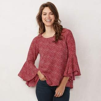 Lauren Conrad Women's Flutter Sleeve Top