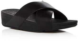 FitFlop Women's Lulu Leather Crisscross Platform Wedge Slide Sandals