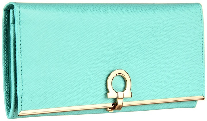Salvatore Ferragamo Icona Continental Wallet (Turquoise) - Bags and Luggage
