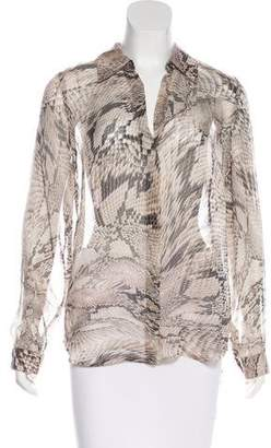 L'Agence Printed Silk Button-Up Top