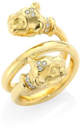 Temple St. Clair Double Mummy Lion Cub Diamond & 18K Yellow Gold Ring