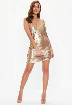 Missguided Gold Matte Disk Sequin Slip Shift Dress