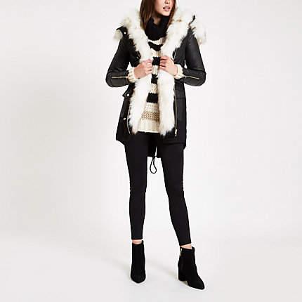 Womens Black faux fur trim parka coat