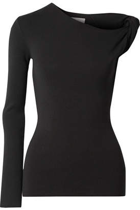 Dion Lee One-shoulder Ribbed Stretch-knit Top - Black