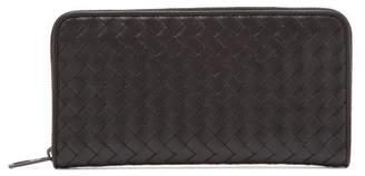 Bottega Veneta Intrecciato Zip Around Leather Wallet - Mens - Black
