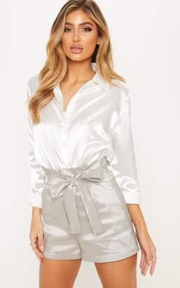 PrettyLittleThing Silver Metallic Satin Tie Waist Short