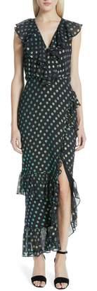 Saloni Anita Ruffle Trim Silk Burnout Dress