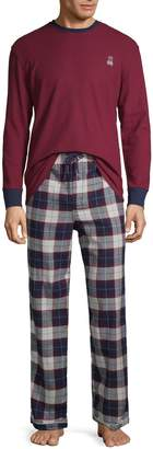 Psycho Bunny Two-Piece Logo Embroidered Long-Sleeve Tee & Plaid Pants Pajama Set