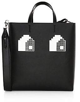 Les Petits Joueurs Women's Meghan Logo Eyes Leather Tote Bag