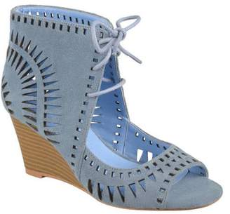 Co Generic Brinley Women's Faux Suede Laser Cut Lace-up Wedges