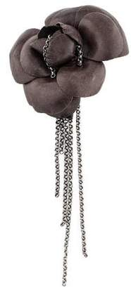 Chanel Leather & Chain Camellia Brooch