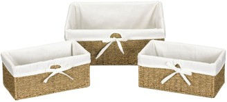 Household Essentials 3-pc. Lined Seagrass Wicker Utility Baskets Set