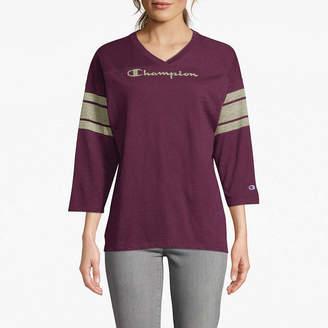Champion Heritge Football Tee 3/4 Sleeve V Neck T-Shirt-Womens