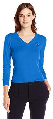 Lacoste Women's Long Sleeve Cotton Jersey Ottoman Vneck Sweater