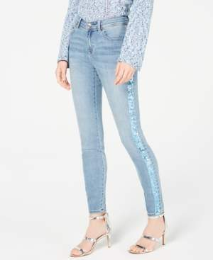 INC International Concepts I.n.c. Sequin-Stripe Skinny Jeans, Created for Macy's