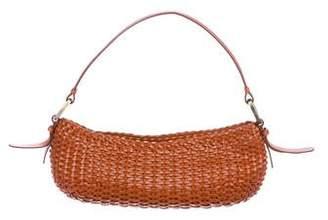 Oscar de la Renta Woven Leather Handle Bag
