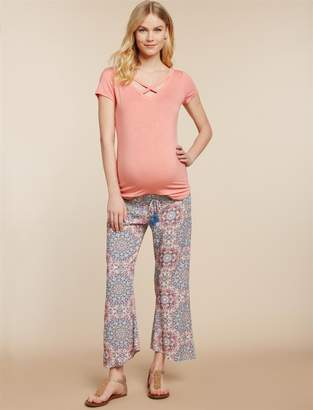 Jessica Simpson Motherhood Maternity Under Belly Challis Straight Leg Maternity Pants