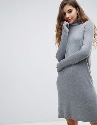 Only lettuce hem knitted mini sweater dress in gray