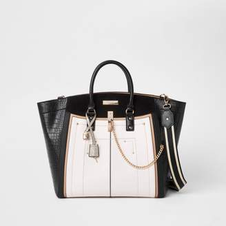 River Island Womens Black large winged contrast tote bag