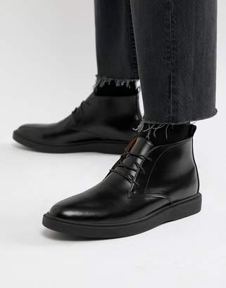 Zign Shoes desert boots in black high shine