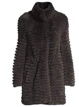 Glamour Puss Glamourpuss Rex Rabbit Fur Knit-Blend Jacket