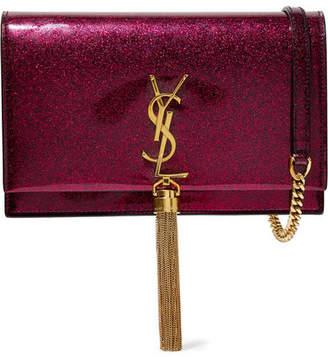 Saint Laurent Monogramme Kate Medium Glittered Patent-leather Shoulder Bag - Burgundy