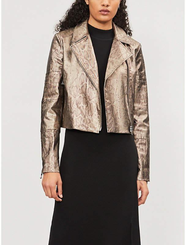 Fashion Aiah snake-print denim jacket