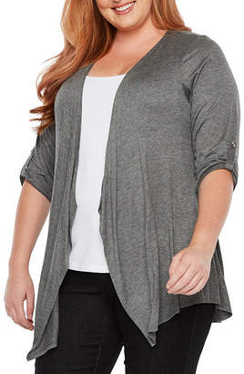 Alyx 3Q Tab Sleeve Open Front Cardigan - Plus