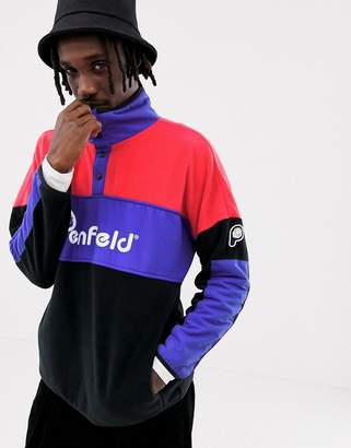 Penfield Sharma fleece/nylon mix colourblock overhead sweatshirt bear logo in pink multi