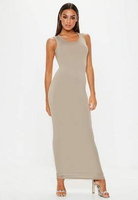Missguided Stone Square Neck Maxi Dress