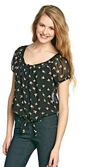 Sequin Hearts Juniors' Tie-Front Bird Print Shirt