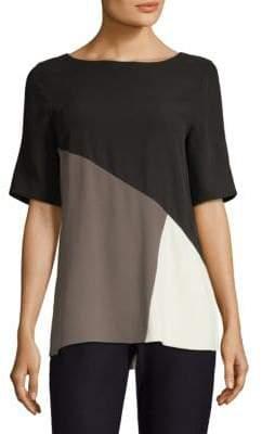 Eileen Fisher Silk Colorblock Top