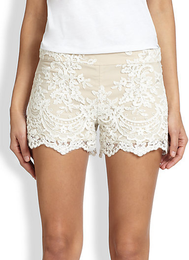 Alice + Olivia High-Waisted Lace Shorts