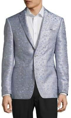Tallia Orange Plaid Metallic Sportcoat