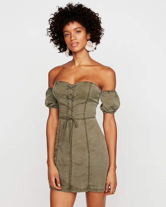 Express Off The Shoulder Lace-Up Corset Sheath Dress