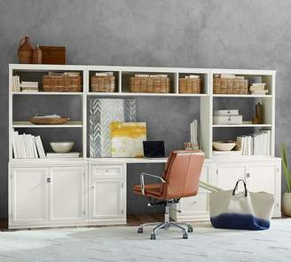 Pottery Barn Logan Large Office Suite With Cabinet Doors & Bridge
