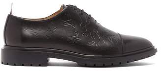 Thom Browne Wholecut Toy Icon Embossed Leather Brogues - Mens - Black