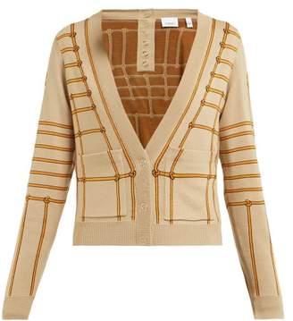 Burberry Chain Intarsia Silk Blend Cardigan - Womens - Beige Multi
