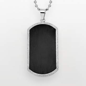 Stainless Steel & Black Immersion-Plated Stainless Steel Dog Tag - Men
