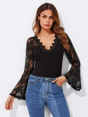 afb5dedf0d Shein Floral Lace Insert Crochet Trim Bodysuit