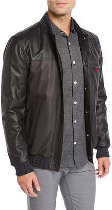 Kiton Men's Leather Bomber Jacket