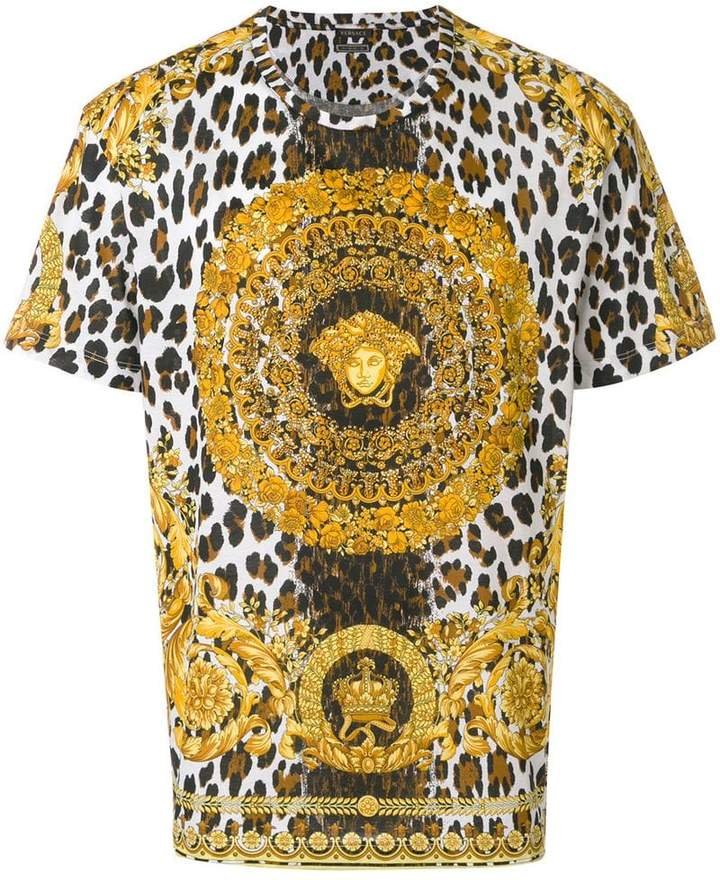 versace wild baroque tribute t shirt damen. Black Bedroom Furniture Sets. Home Design Ideas
