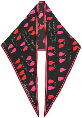 Alexander McQueen calligraphy print pointed scarf