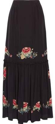 Vilshenko Alenka Printed Silk Crepe De Chine Maxi Skirt