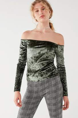 Urban Outfitters Off-The-Shoulder Velvet Top