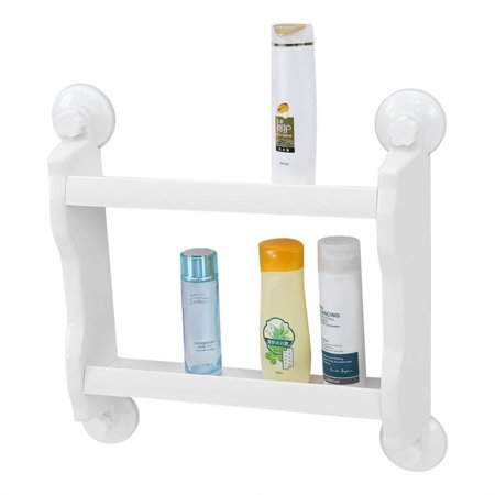 Yosoo Bathroom Kitchen Double Tiers Strong Suction Cup Rack Wall Mount Storage Shelf,White