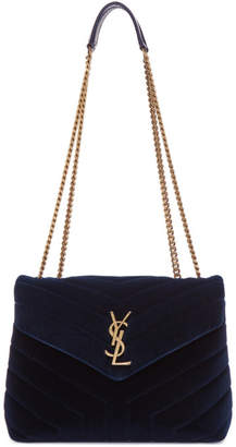 Saint Laurent Blue Velvet Small Loulou Chain Bag